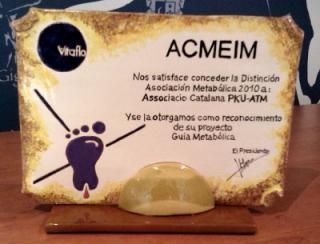 Reconocimiento a la Associació Catalana PKU-ATM por el proyecto Guía Metabólica