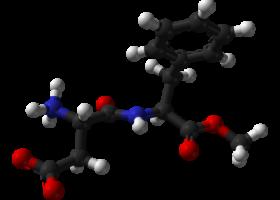 Molécula del aspartamo. Foto: Wikimedia