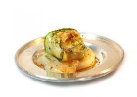 Raviolis de calabacín con queso y pera. Imagen: Consumer Eroski