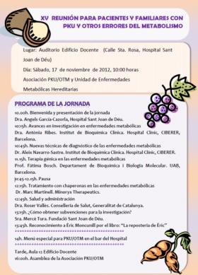 XV Reunión para pacientes y familiares con PKU y Otros Errores del Metabolismo [