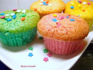 Magdalenas de colores. Foto: Blog De Sucre i Sal